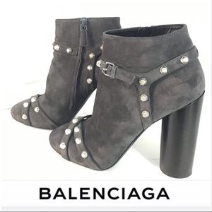 Balenciaga Dark Gray Suede Booties with Box & Bag